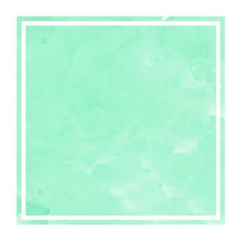 ターコイズ色の手描き水彩長方形フレーム背景テクスチャの汚れ