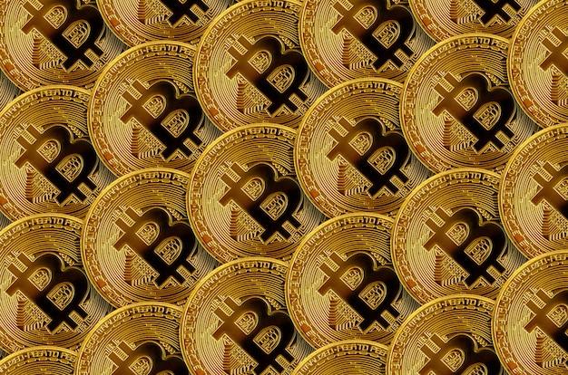 多くの黄金のビットコインのパターン。暗号通貨マイニングのコンセプト