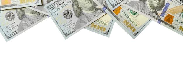 ドル札。コピースペースを白で隔離されるアメリカのお金