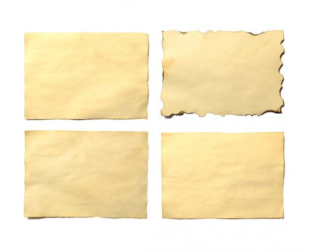 アンティークヴィンテージ崩壊しつつある紙原稿または羊皮紙の古い空白部分のセット