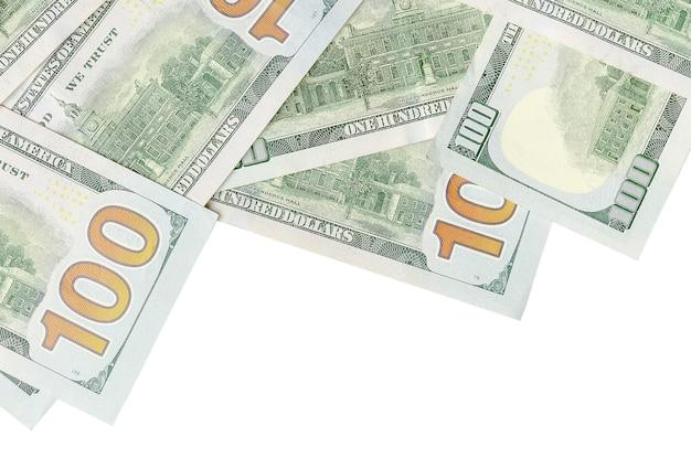 白い背景の上のアメリカのお金