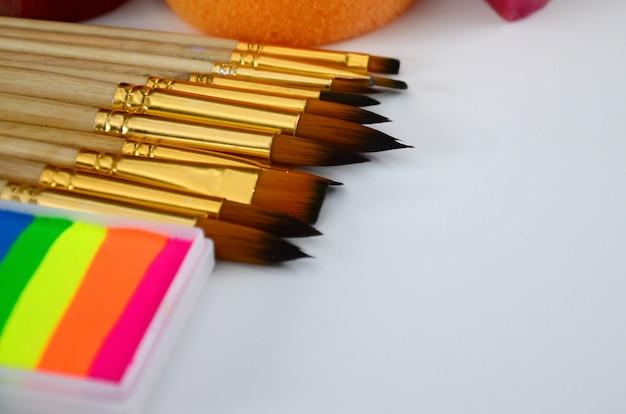 フェイスペインティング用のカラー化粧品、ブラシ、スポンジ