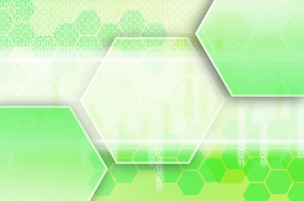 六角形の緑の抽象的な技術的背景