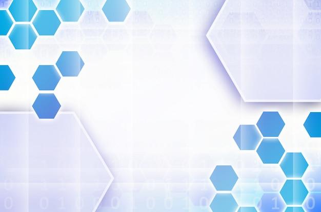 六角形の青と白の抽象的な技術的背景