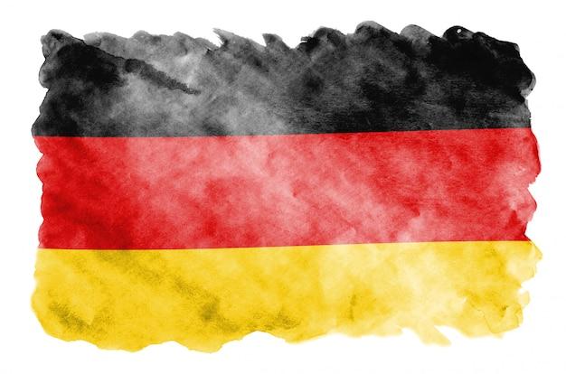 ドイツの国旗は、白で隔離される液体水彩風で描かれています