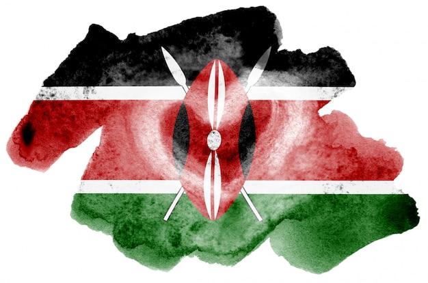 ケニアの旗は、白で隔離される液体水彩風で描かれています