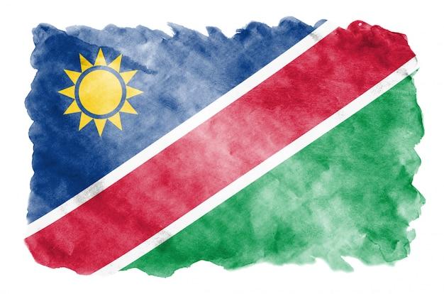 Флаг намибии изображен в жидком стиле акварели на белом