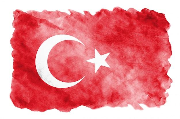 トルコの旗は白で隔離される液体の水彩風で描かれています