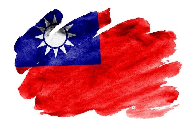 Флаг тайваня изображен в жидком стиле акварели на белом