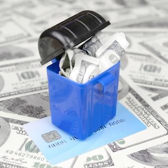 仮想通貨での資金の転送と保管の概念。モダンバンキング