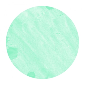 Бирюзовый рисованной акварель круглая рамка фоновой текстуры с пятнами