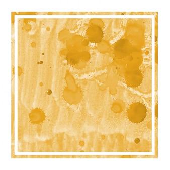 明るいオレンジ色の手描きの汚れと水彩長方形フレーム背景テクスチャ
