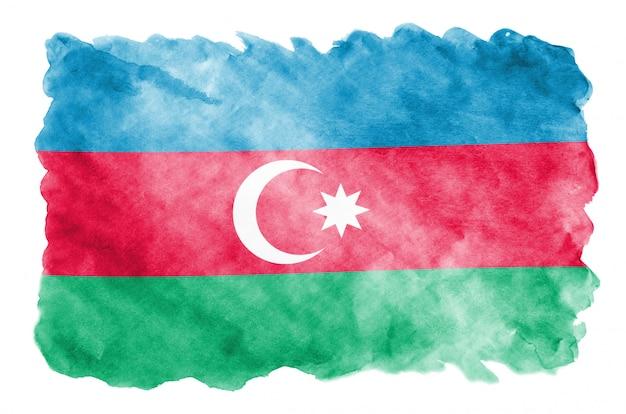 アゼルバイジャンの国旗は、白で隔離される液体水彩風で描かれています