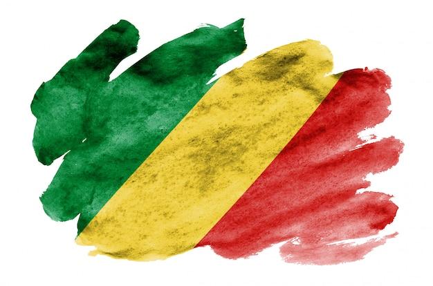 コンゴの国旗は、白で隔離される液体水彩風で描かれています