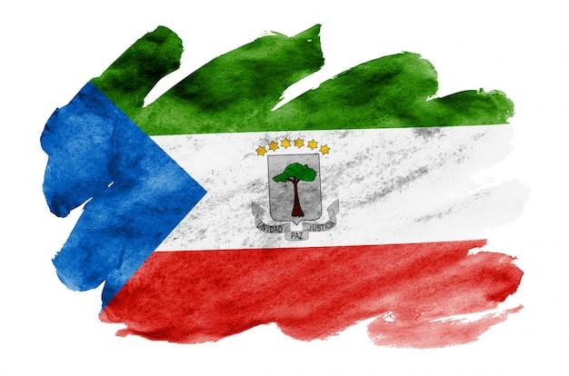 赤道ギニアの国旗は、白で隔離される液体水彩風で描かれています