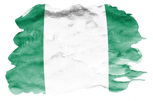 ナイジェリアの国旗は、白で隔離される液体水彩風で描かれています