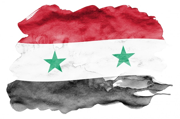 Флаг сирии изображен в жидком стиле акварели на белом