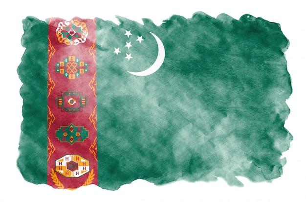 トルクメニスタンの国旗は、白で隔離される液体水彩風で描かれています