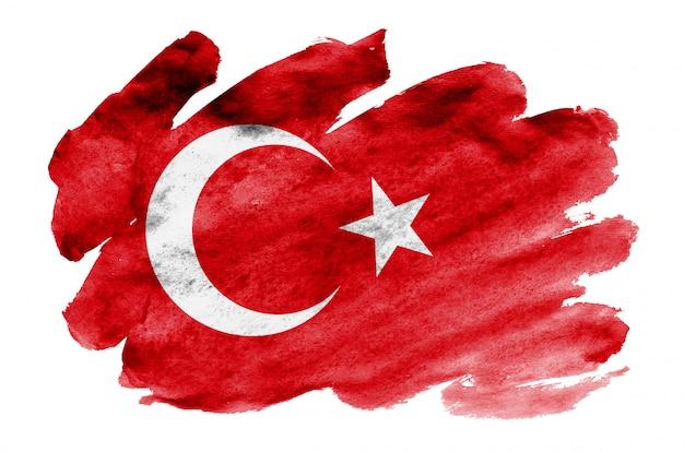 トルコの国旗は、白で隔離される液体水彩風で描かれています