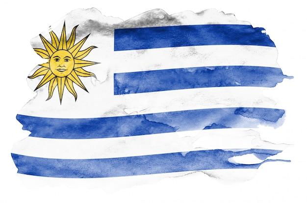 Флаг уругвая изображен в жидком стиле акварели на белом