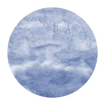 暗い青色の手描きの汚れと水彩円形フレーム背景テクスチャ