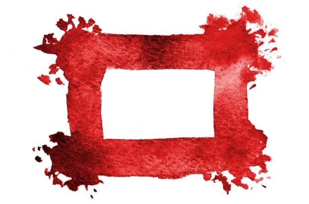ランダムな赤いフレームを形成する抽象的な水彩スポット