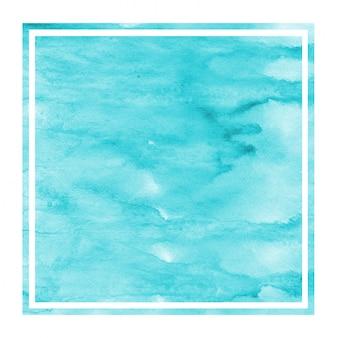水色の手描き水彩長方形フレーム