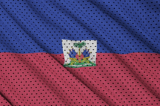 ポリエステルナイロンスポーツウェアメッシュ生地に印刷されたハイチの旗