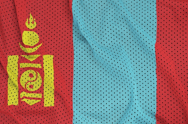 ポリエステルナイロンスポーツウェアメッシュ生地にモンゴルの旗を印刷