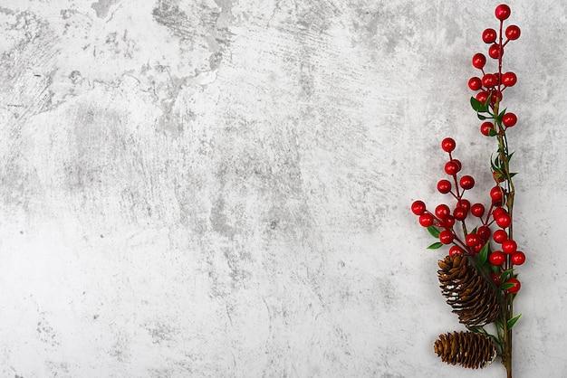 鮮やかな赤い果実と円錐形の茶色の枝に。灰色の漆喰を背景に。