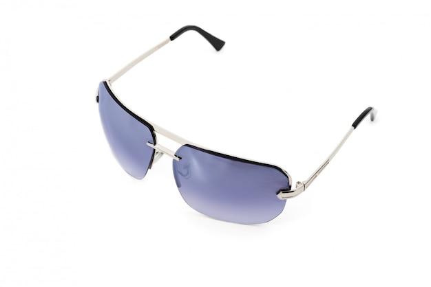 黒いアーチと紫のメガネの金属製のメガネ