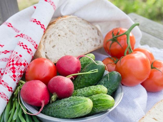 ピクニック用野菜、トマト、きゅうり、大根
