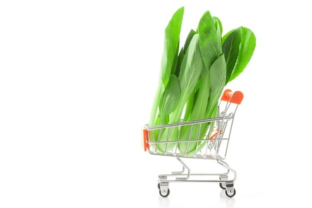 ショッピングカートでベビーボクチョイ。良い健康のための健康的な食べ物。野菜のショッピングコンセプト。