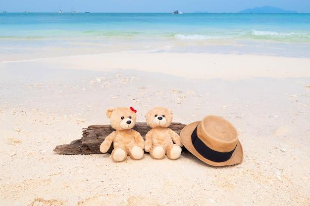 Два плюшевых медведя сидят на бревне с видом на море