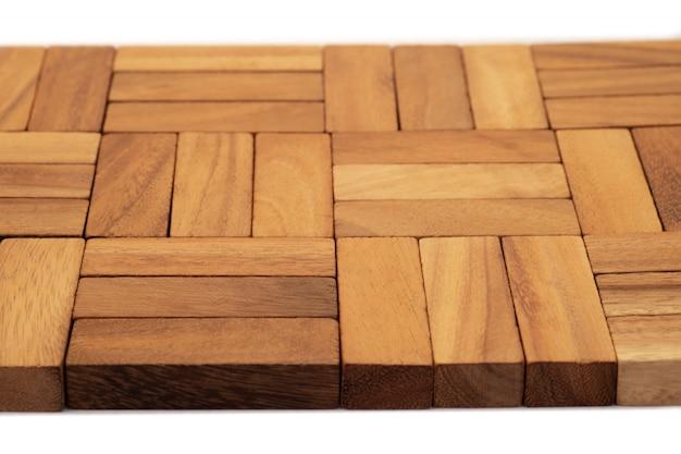 木製テクスチャ、背景の自然な木製のブロックのおもちゃを閉じます。