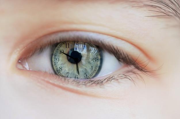 目に映る時計。