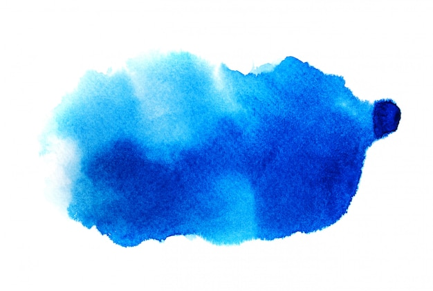 白地に青の水彩画