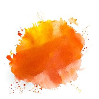白のオレンジ色の水彩画