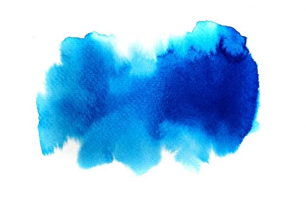 青い水彩背景。アートハンドペイント