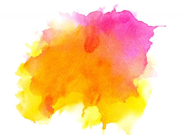 紙の上の黄色の水彩画。