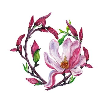 Цветочная композиция, венок с цветами магнолии, изолированные