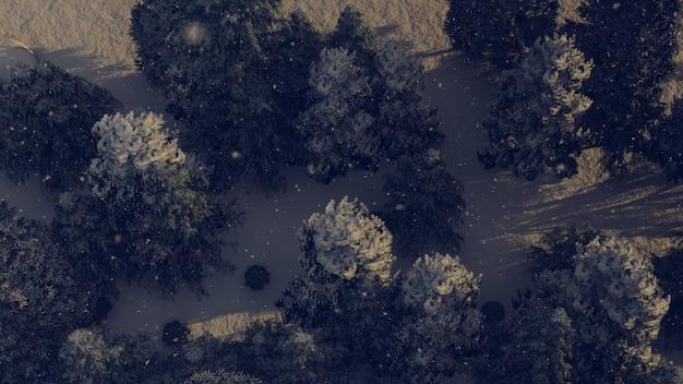 クリスマスに雪が降る森の航空写真