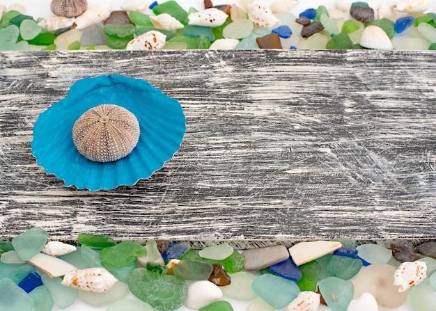 Набор морских раковин на фоне старых деревянных