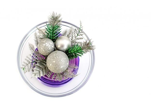 ガラス花瓶のクリスマスツリーブランチ