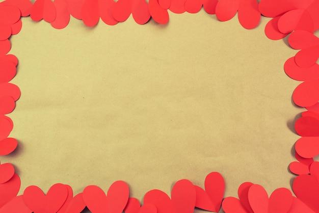 Рамка из красного сердца фон для текста концепции дня святого валентина