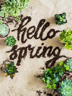 しわくちゃのクラフト用紙の背景に散在土と緑の植物の庭師ツール