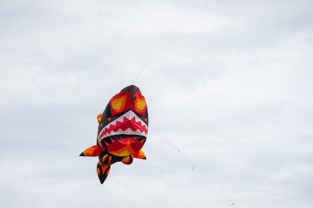 雲の間で空を飛んでいる凧。