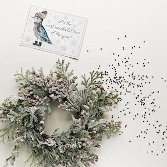 クリスマスのグリーティングカードと蛇紋岩
