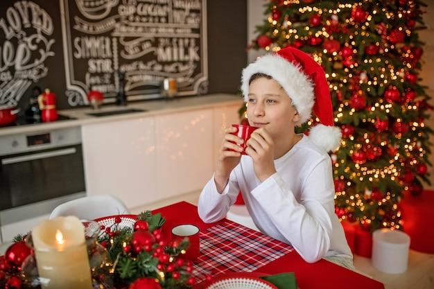 サンタクロースの帽子で幸せな少年はクリスマスを祝う
