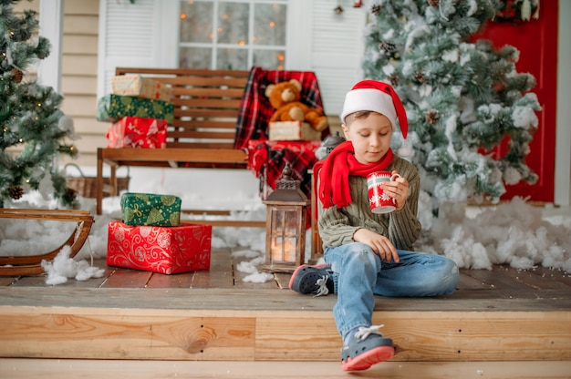 クリスマスツリーと少年